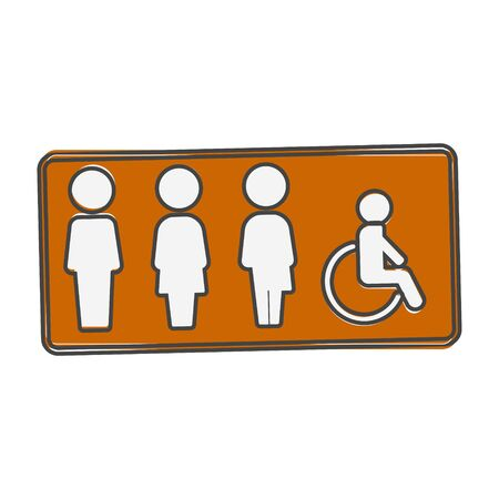 Vector icon plate gender neutral toilet cartoon style on white isolated background. Layers grouped for easy editing illustration. For your design.