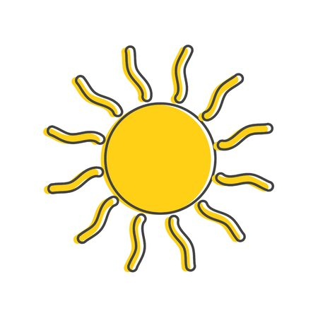Vector icon sun cartoon style on white isolated background. Layers grouped for easy editing illustration. For your design.