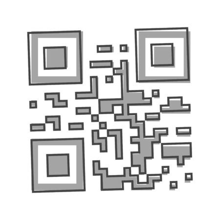 Vector image is an example of a QR code for reading information by a smartphone or mobile phone, tablet. QR code to scan the device cartoon style on white isolated background. Layers grouped for easy editing illustration. For your design. Illusztráció