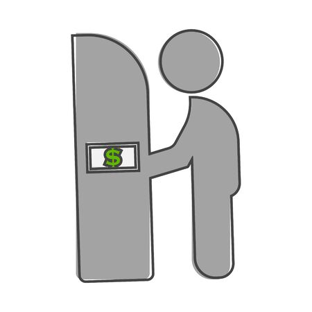 Vector icon of cash from the ATM. Business flat icon cartoon style on white isolated background. Layers grouped for easy editing illustration. For your design. Vector Illustration