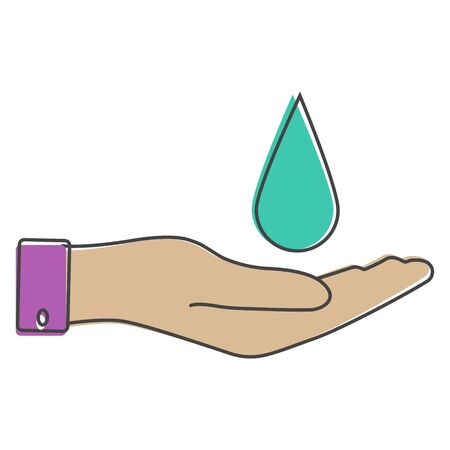 Vector icon hand holding a drop. Flat hand design and a drop of water cartoon style on white isolated background. Layers grouped for easy editing illustration. For your design.