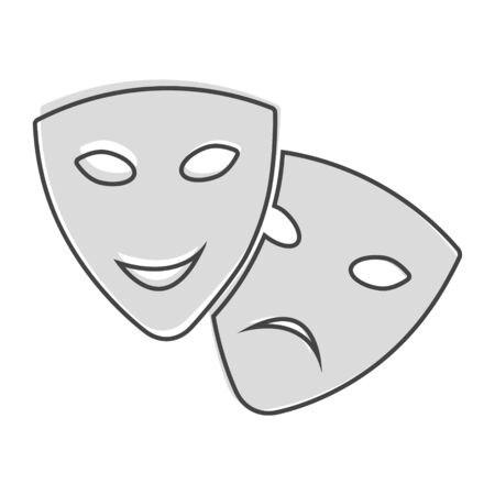 Vector Image Theatrical face mask. Drama and comedy, laughter and crying cartoon style on white isolated background. Layers grouped for easy editing illustration. For your design. Illusztráció