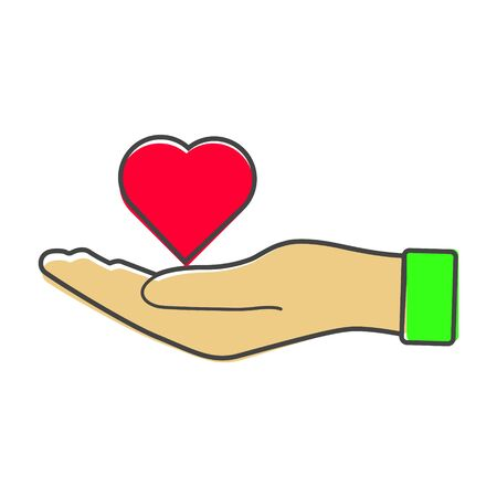 icon of a red hand holding a heart. Flat design of the hand and heart cartoon style on white isolated background. Layers grouped for easy editing illustration. For your design.