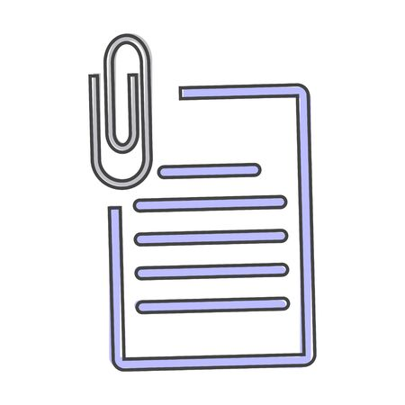 Vector document icon and paper clip. Business  document  icon cartoon style on white isolated background. Layers grouped for easy editing illustration. For your design. Illusztráció