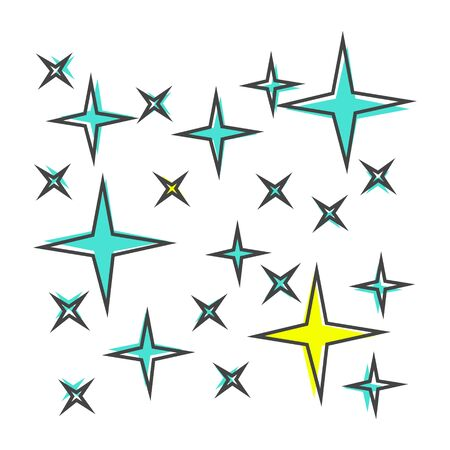 Vector icon of the star, starry sky, shine of purity cartoon style on white isolated background. Layers grouped for easy editing illustration. For your design.