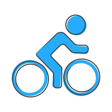 Vector icon of cyclist, sportsman cartoon style on white isolated background. Layers grouped for easy editing illustration. For your design.