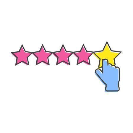 Vector icon of customer feedback. The client's hand clicks on the asterisk. Customer review cartoon style on white isolated background. Layers grouped for easy editing illustration. For your design.