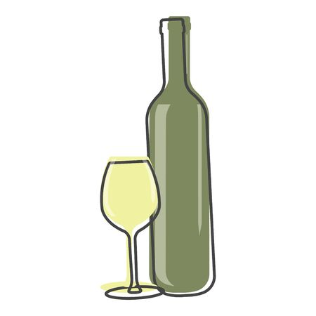 Vector icon of a glass and bottle. Dark bottle and glass goblet symbol cartoon style on white isolated background. Layers grouped for easy editing illustration. For your design.
