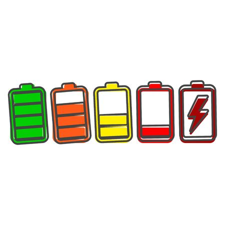 Battery icon. Color vector battery icon cartoon style on white isolated background. Layers grouped for easy editing illustration. For your design.