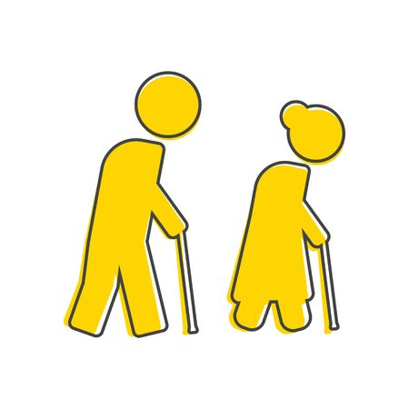 Vector icon of pensioners. Elderly people with cane cartoon style on white isolated background. Layers grouped for easy editing illustration. For your design.