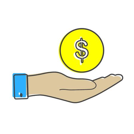 Vector icon hand holding a coin. Flat hand design and money cartoon style on white isolated background. Layers grouped for easy editing illustration. For your design.