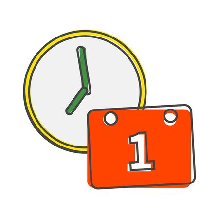 clock icon and calendar. Time Management Icon cartoon style on white isolated background. Layers grouped for easy editing illustration. For your design. Illusztráció