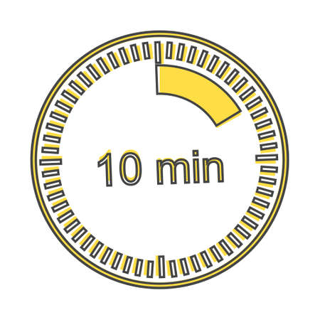A clock icon indicating the time span of 10 minutes. The time span is ten minutes on the clock Layers grouped for easy editing illustration. For your design.