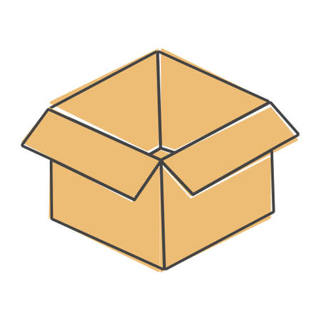 Open box vector image. Sign of parcel and goods cartoon style on white isolated background. Layers grouped for easy editing illustration. For your design.