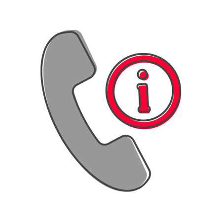 Vector phone icon and letter i. Get help information on the phone cartoon style on white isolated background. Layers grouped for easy editing illustration. For your design.
