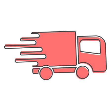 The car is going at high speed, vector icon. A symbol of fast delivery of cargo by a logistics company cartoon style on white isolated background. Layers grouped for easy editing illustration. For your design.