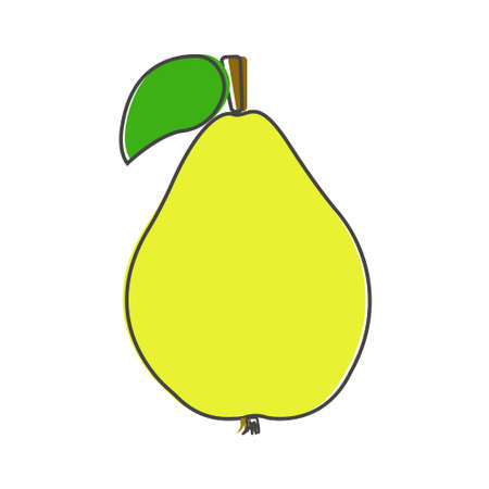 Pear vector icon. Vector fruit pear icon cartoon style on white isolated background. Layers grouped for easy editing illustration. For your design. Illusztráció