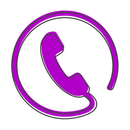 Phone vector icon on flat style. Handset cartoon style on white isolated background. Layers grouped for easy editing illustration. For your design.