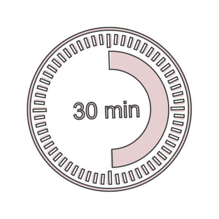 A clock icon indicating a time interval of 30 minutes. thirty minutes on the clock cartoon style on white isolated background. Layers grouped for easy editing illustration. For your design. Illusztráció