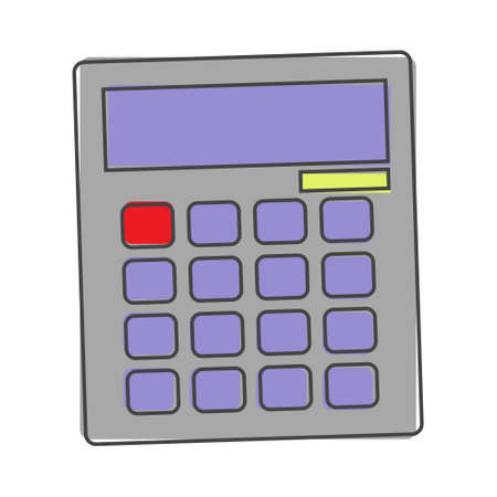 Calculator vector image. Mathematical symbol. Calculator is a symbol of the account cartoon style on white isolated background. Layers grouped for easy editing illustration. For your design.