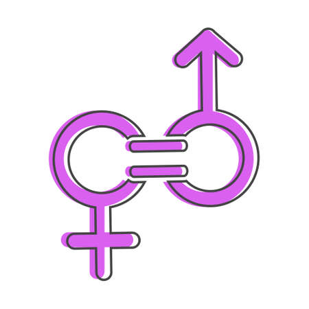 Gender equality vector icon. Sign of a man and woman are equal cartoon style on white isolated background. Layers grouped for easy editing illustration. For your design.