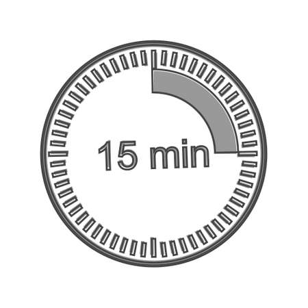 Clock icon indicating the time interval of 15 minutes. Fifteen minutes time on the clock cartoon style on white isolated background. Layers grouped for easy editing illustration. For your design.