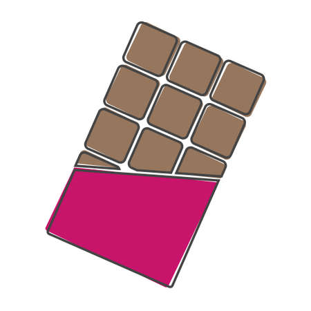 Tile of chocolate flat vector icon. Chocolate in a torn wrapper cartoon style on white isolated background. Layers grouped for easy editing illustration. For your design. Illusztráció