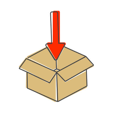 Open box and arrow pointing into the box, inside a vector image. Packing and goods packing mark Layers grouped for easy editing illustration. For your design. Illusztráció