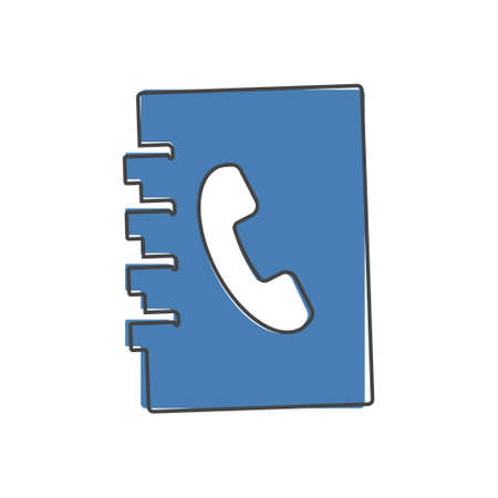 Phone book. Vector icon of a notebook for recording telephone number cartoon style on white isolated background. Layers grouped for easy editing illustration. For your design.