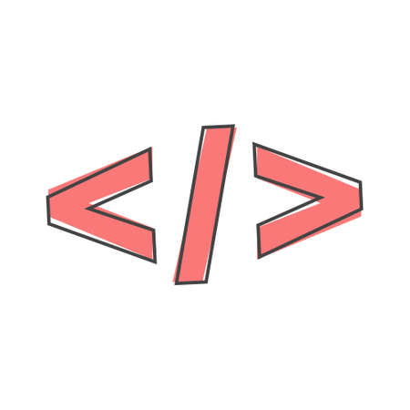 Computer code slash vector icon. Symbol of programming, webdesign cartoon style on white isolated background. Layers grouped for easy editing illustration. For your design.