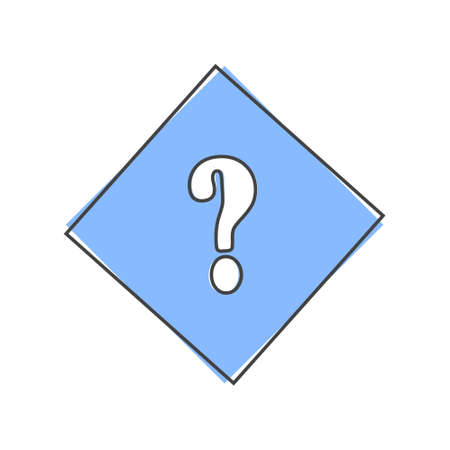 Vector icon question mark in a rhombus. Punctuation mark symbolcartoon style on white isolated background.Layers grouped for easy editing illustration. For your design. Ilustração