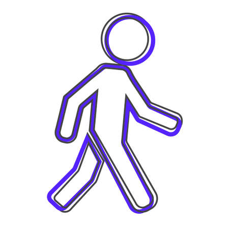 Vector icon walking pedestrian. Walking man cartoon style on white isolated background. Layers grouped for easy editing illustration. For your design.