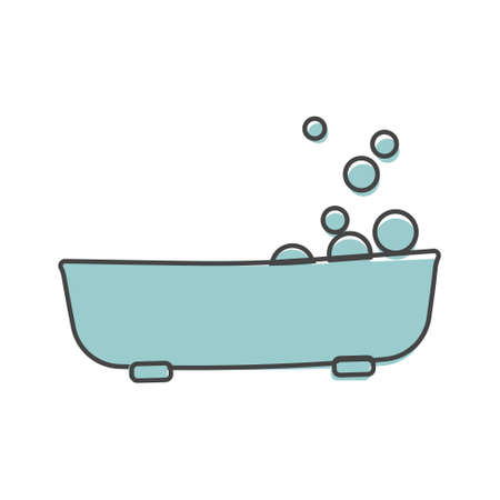 Vector icon bathroom in the room. Vector icon illustration bathroom cartoon style on white isolated background. Layers grouped for easy editing illustration. For your design.