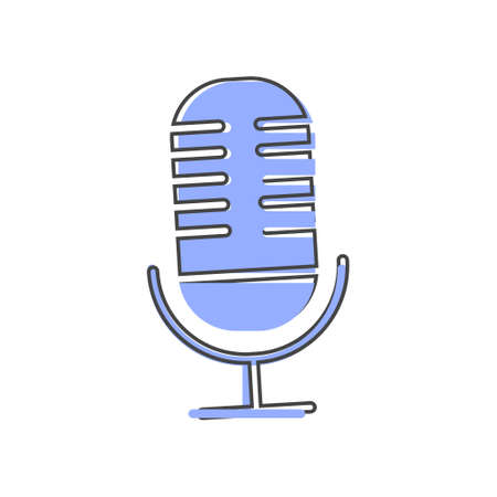Vector image of microphone cartoon style on white isolated background.Layers grouped for easy editing illustration. For your design.