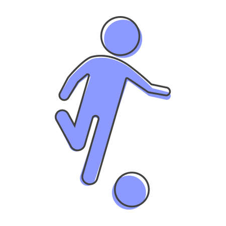 Man playing ball vector icon. Soccer player cartoon style on white isolated background. Layers grouped for easy editing illustration. For your design.