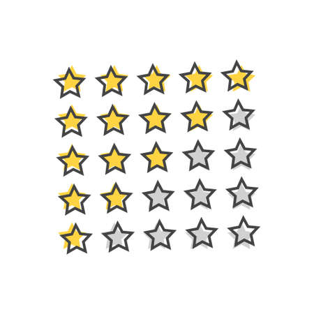 Vector image of 5 star rating. Gray stars vector icon cartoon style on white isolated background. Layers grouped for easy editing illustration. For your design.