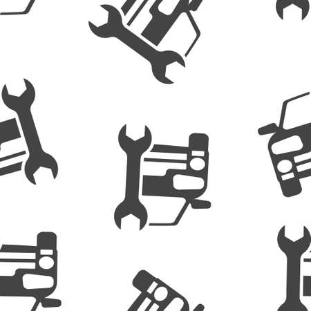 Service car vector icon seamless pattern on a white background. Layers grouped for easy editing illustration. For your design