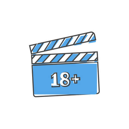 Vector icon film 18. Age restriction symbo on white isolated background. Layers grouped for easy editing illustration. For your design.
