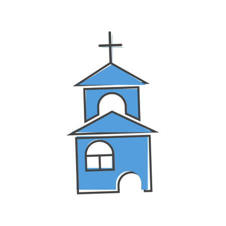 Church building icon. Vector religious church illustration on white isolated background. Layers grouped for easy editing illustration. For your design.