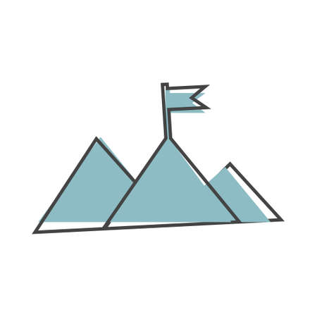 Vector icon mountain and flag on top. Victory symbol icon cartoon style on white isolated background. Layers grouped for easy editing illustration. For your design.