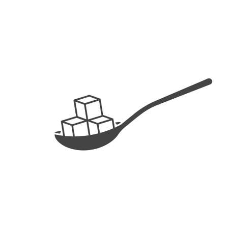 Vector icon of spoon with sugar on white isolated background. Layers grouped for easy editing illustration. Illusztráció