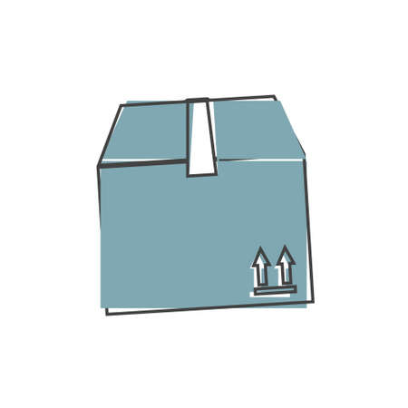 Shopping delivery box vector icon on cartoon style on white isolated background. Layers grouped for easy editing illustration. For your design.