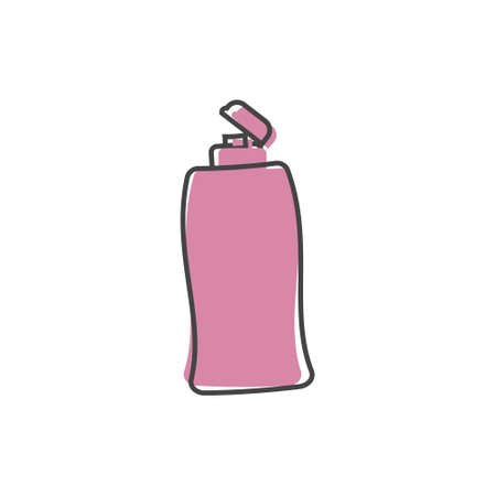 Vector icon of hair shampoo, bath gel. Body care. Symbol of purity cartoon style on white isolated background.