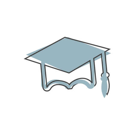 Graduation cap vector icon. High school symbol on cartoon style on white isolated background. Layers grouped for easy editing illustration.