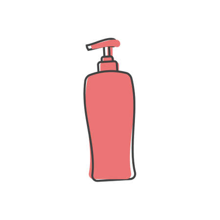 Vector icon of hair shampoo, bath gel. Body care. Symbol of purity cartoon style on white isolated background. Layers grouped for easy editing illustration. Vectores