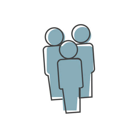 Vector people icon. Crowd on cartoon style on white isolated background. Layers grouped for easy editing illustration.