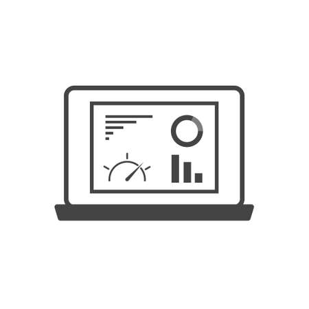Dashboard icon on monitor cartoon style on white isolated background. Layers grouped for easy editing illustration. For your design.