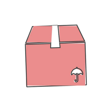 Shopping delivery box vector icon on cartoon style on white isolated background. Layers grouped for easy editing illustration.
