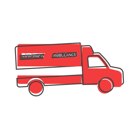 Ambulance vector icon cartoon style on white isolated background. Layers grouped for easy editing illustration.