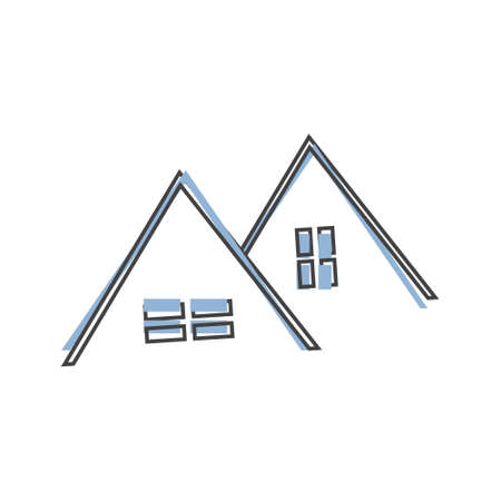 Vector house roof icon by window cartoon style on white isolated background. Layers grouped for easy editing illustration. Illusztráció